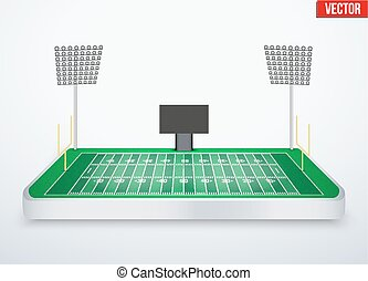 Concept of miniature tabletop American football stadium -...