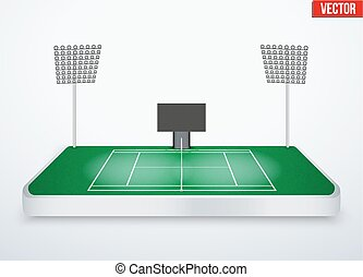 Concept of miniature tabletop Tennis court In...