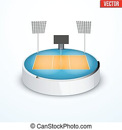 Concept of miniature round tabletop volleyball arena In...