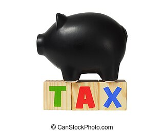 Tax money concept - Piggy bank and wooden blocks with TAX...