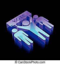 做, 插圖, 運動, 政治, 氖,  icon:, 發光, 矢量, 選舉, 玻璃,  3D