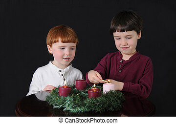 Third Week of Advent - Two brothers light an Advent wreath...
