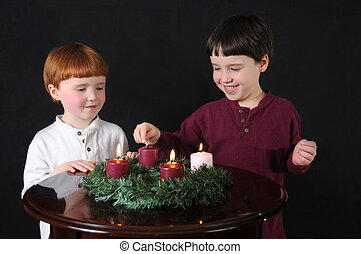 Fourth Week of Advent - Two brothers light an Advent wreath...