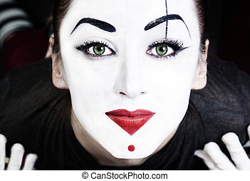 beautiful woman mime with green eyes - A face of beautiful...
