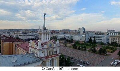 Downtown Ulan-Ude flight drone shot aerial view Russia, Buryatia.