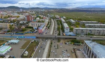 An aerial view of the street of the city of Ulan-Ude,...