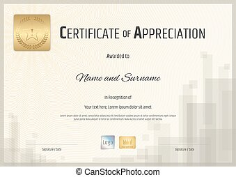 Certificate of appreciation template in brown theme in vector