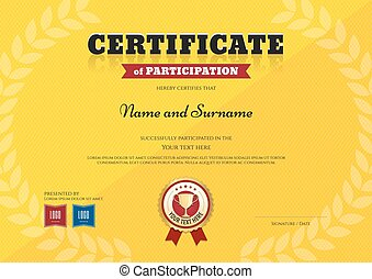 Certificate of participation template in sport yellow theme...