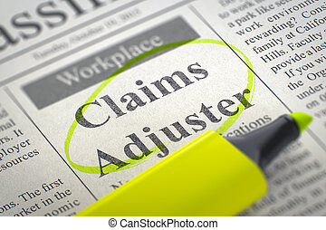 Claims Adjuster Wanted. - Newspaper with Classified...