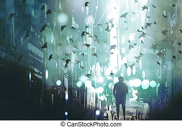 man walking in abandoned city alley with flock of...