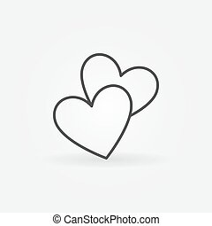 Two hearts line icon - vector simple heart symbol or love...