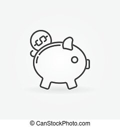 Moneybox line vector icon - Moneybox line icon - vector...