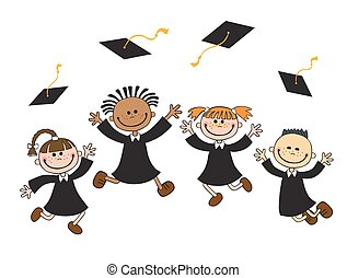 vector illustration of happy graduates with mortarboard...