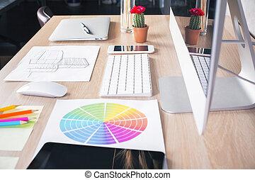 Desenhista, vista, lado,  desktop
