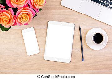 Woman's desktop - Top view of creative woman's desktop with...