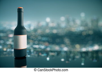 Wine bottle on city background - Wine bottle with blank...