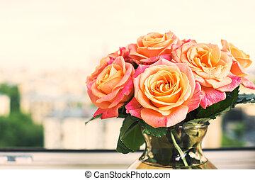 Beautiful peach roses - Closeup of beautiful peach roses on...