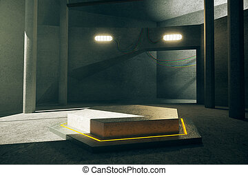 Yellow hexagonal projection - Abstract concrete interior...