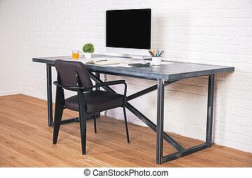 Designer desk with chair side - Sideview of designer desk...