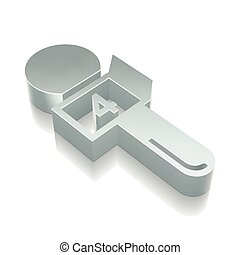 News icon: 3d metallic Microphone with reflection, vector illustration.
