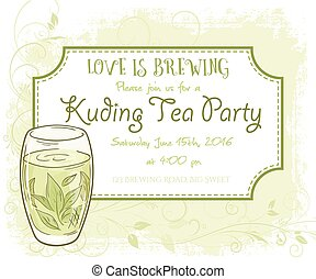 vector hand drawn kuding tea party invitation card, vintage...