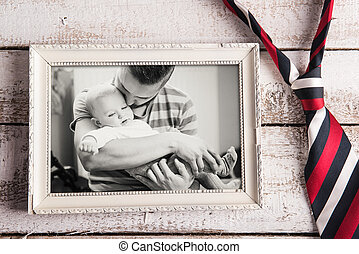 Fathers day composition Picture frame, photo, tie Wooden...