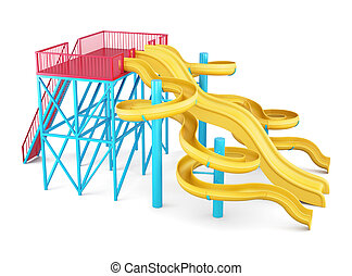 Water slides on a white background Side view 3d render image...