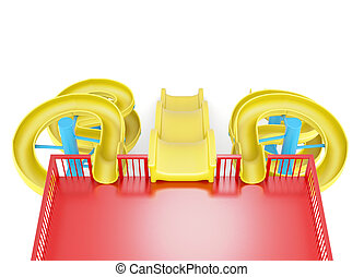 Top view of water slide isolated on a white background 3d...