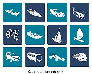 transportation and travel icons - Flat different kind of...