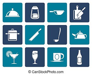 cafe, food and drink icons - Flat Restaurant, cafe, food and...