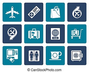 Flat airport, travel icons