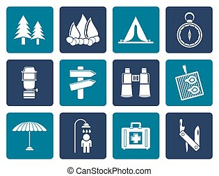 Camping, travel and Tourism icons - Flat Camping, travel and...