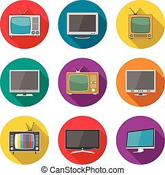 TV icons in flat design style