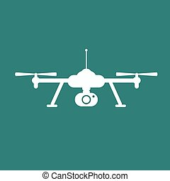 Drone icon. Copter or quadrocopter with camera