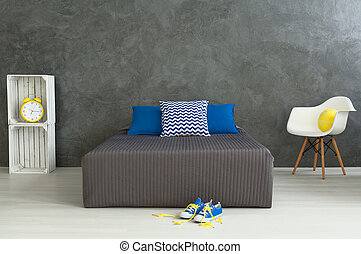 Room of young boy - Cozy tidy bedroom with grey walls of...