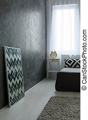 Stylish bedroom after renovation - Photo of grey simple room...