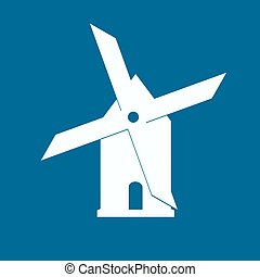 Mill icon isolated on blue background illustration
