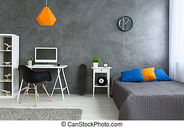 Grey room with little color - Bedroom with grey walls and...
