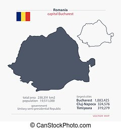 romania - Romania isolated maps and official flag icon....