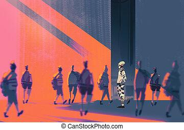 man walking to different way,unique concept,illustration