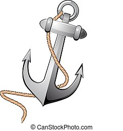 Isolated anchor - Detailed nautical anchor isolated on white...