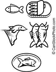 Fish food symbols - Set of seafood and fish symbols isolated...
