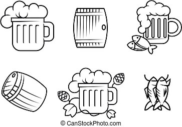 Beer and alcohol symbols - Set of beer and alcohol symbols...