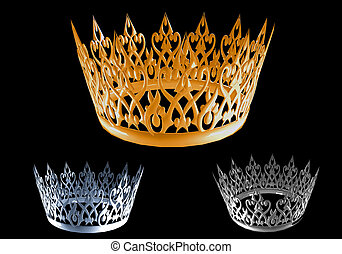 set of abstract crown on black background