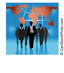 Global business people team world map background