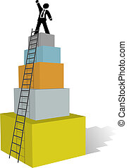 Business man climb to success ladder top - A business man...
