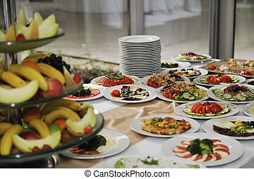 catering food - delicious catering food arrangement on party...