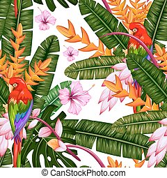 Seamless Pattern with Exotic Tropical Flower and Macau -...