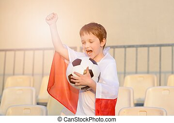 Little boy - Polish football team fan - supporter with...