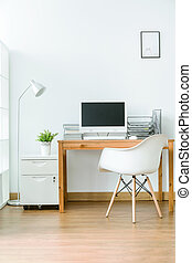 Room with space for work - Spacious room with wooden floor...